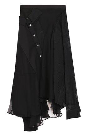 Полупрозрачная юбка-миди асимметричного кроя | Фото №1