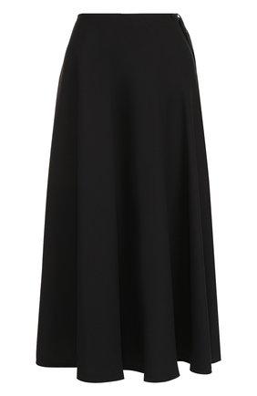 Однотонная юбка-миди из полиэстера Maison Margiela черная | Фото №1