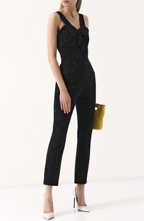Приталенный джинсовый комбинезон с потертостями Paige черный   Фото №1