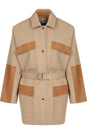 Хлопковая куртка с поясом и накладными карманами Yves Salomon бежевая | Фото №1