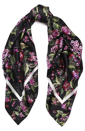 Шелковый платок с цветочным принтом   Фото №1