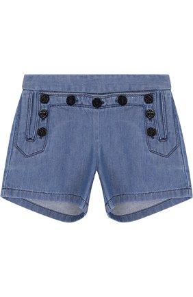 Джинсовые шорты с эластичной вставкой на поясе | Фото №1