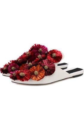 Текстильные сабо с цветочными аппликациями | Фото №1