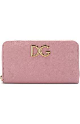 Женские кожаный кошелек на молнии DOLCE & GABBANA розового цвета, арт. BI0473/AH338 | Фото 1
