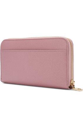 Женские кожаный кошелек на молнии DOLCE & GABBANA розового цвета, арт. BI0473/AH338 | Фото 2