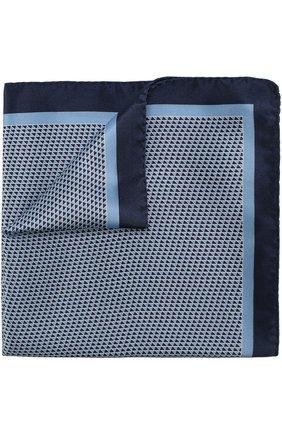 Мужской шелковый платок с узором BOSS синего цвета, арт. 50386652 | Фото 1
