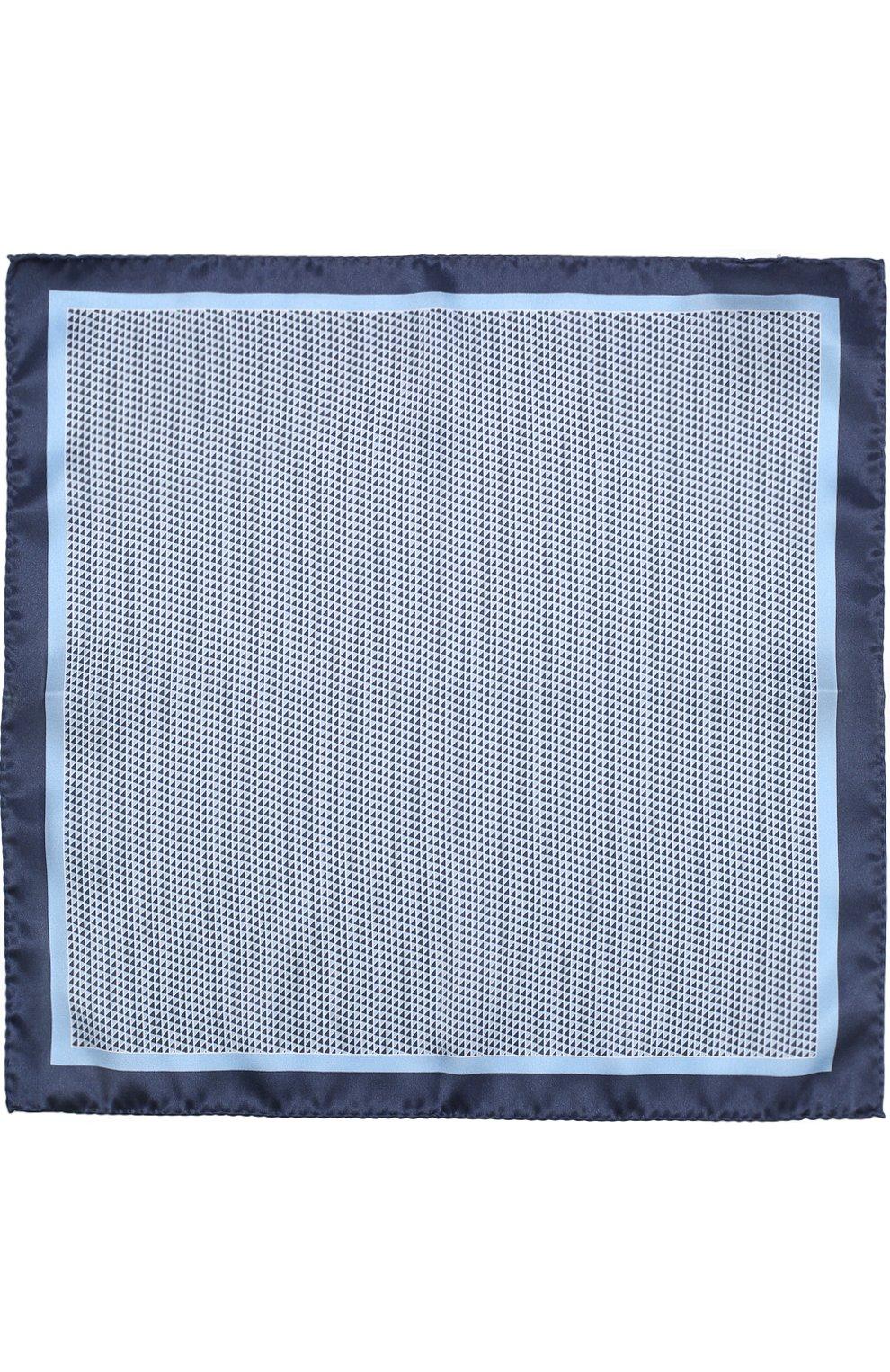 Мужской шелковый платок с узором BOSS синего цвета, арт. 50386652 | Фото 3