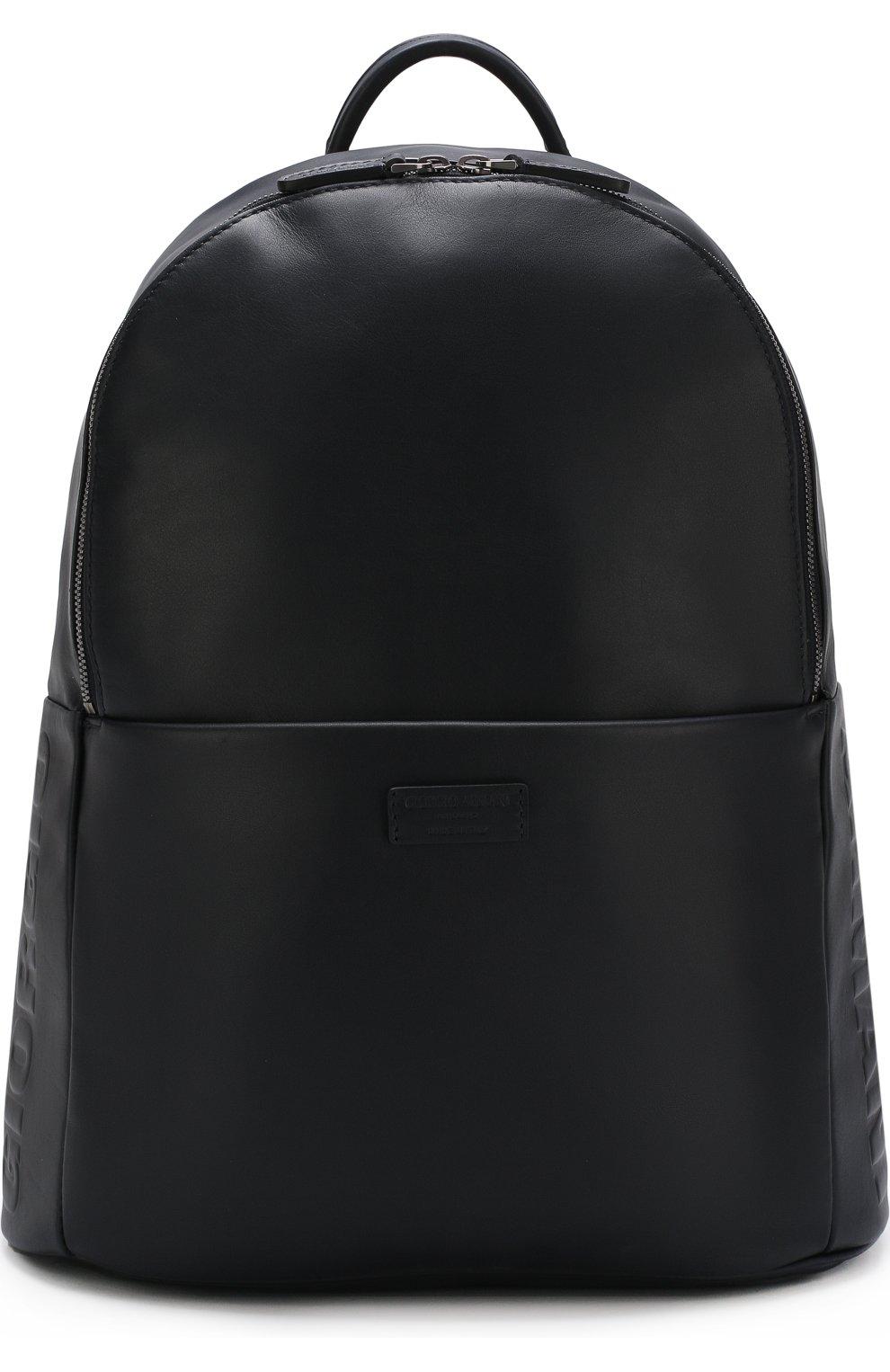 9eb8b7203ff4 Фото Мужской темно-синий однотонный кожаный рюкзак GIORGIO ARMANI Италия  5231192 Y20091/YDN1J