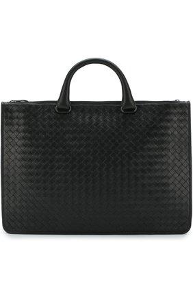 Кожаный портфель на молнии с плечевым ремнем | Фото №1
