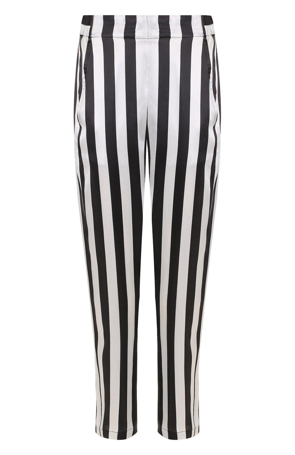 4ddd5da4 Укороченные шелковые брюки в полоску Ann Demeulemeester черно-белые | Фото  №1