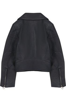 Укороченная кожаная куртка с косой молнией | Фото №2