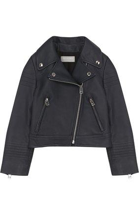 Укороченная кожаная куртка с косой молнией Yves Salomon Enfant темно-синего цвета   Фото №1