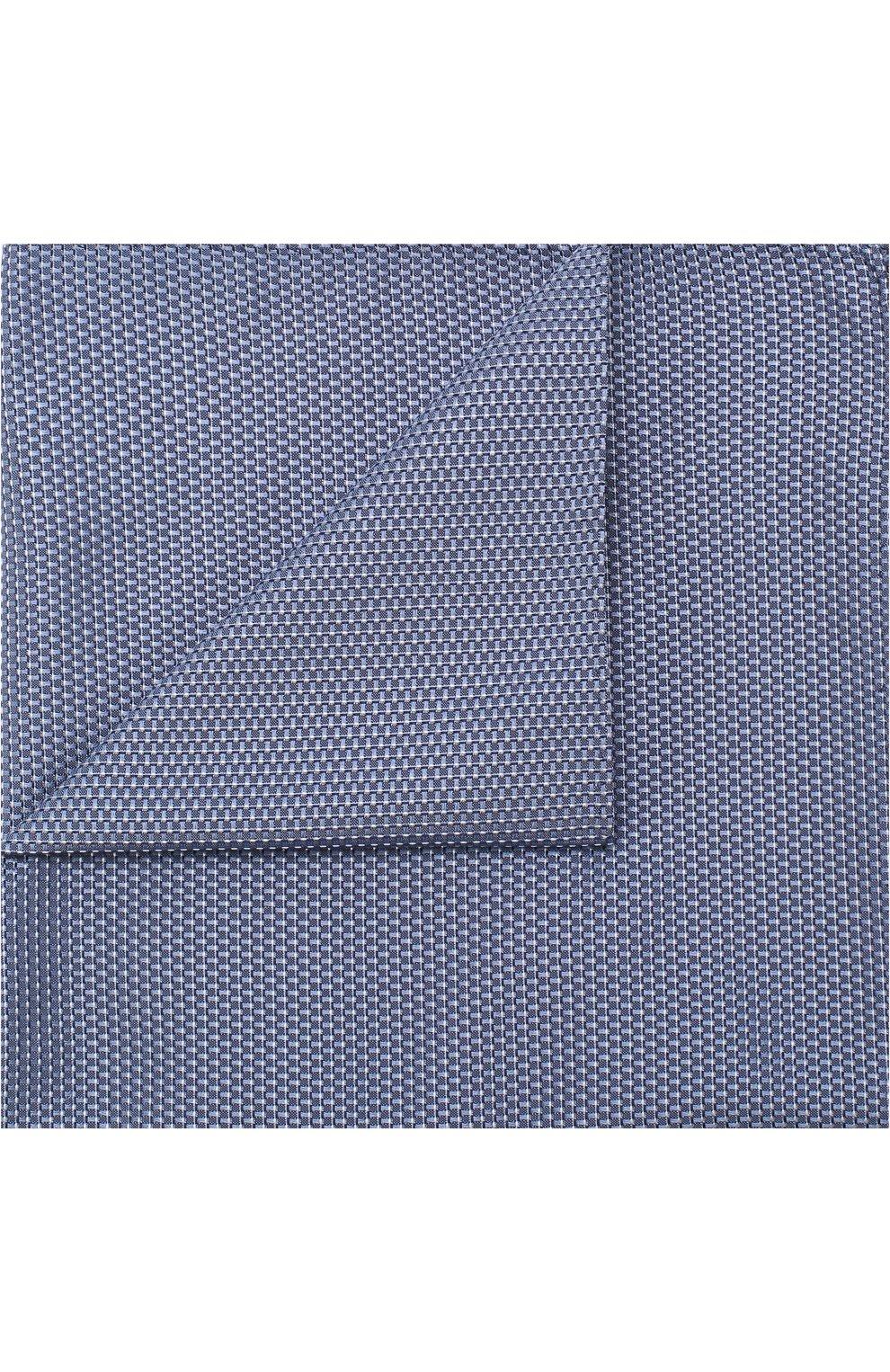 Мужской шелковый платок с узором BOSS голубого цвета, арт. 50386784 | Фото 1