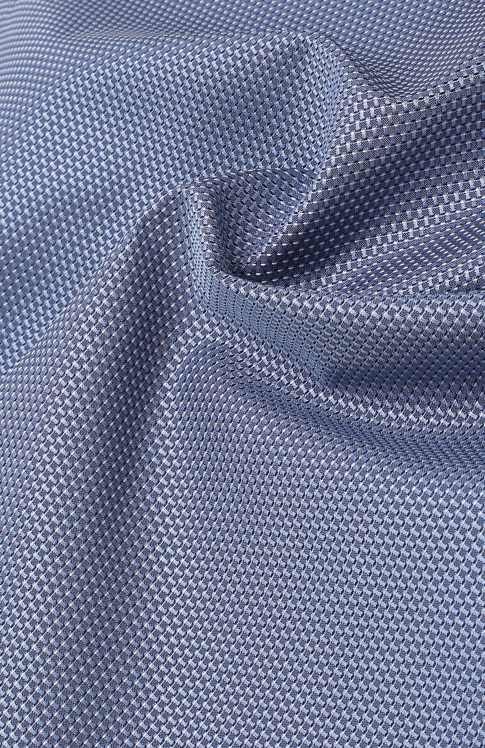 Мужской шелковый платок с узором BOSS голубого цвета, арт. 50386784 | Фото 2