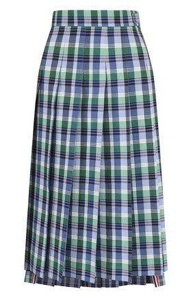 Плиссированная хлопковая юбка в клетку Thom Browne синяя | Фото №1