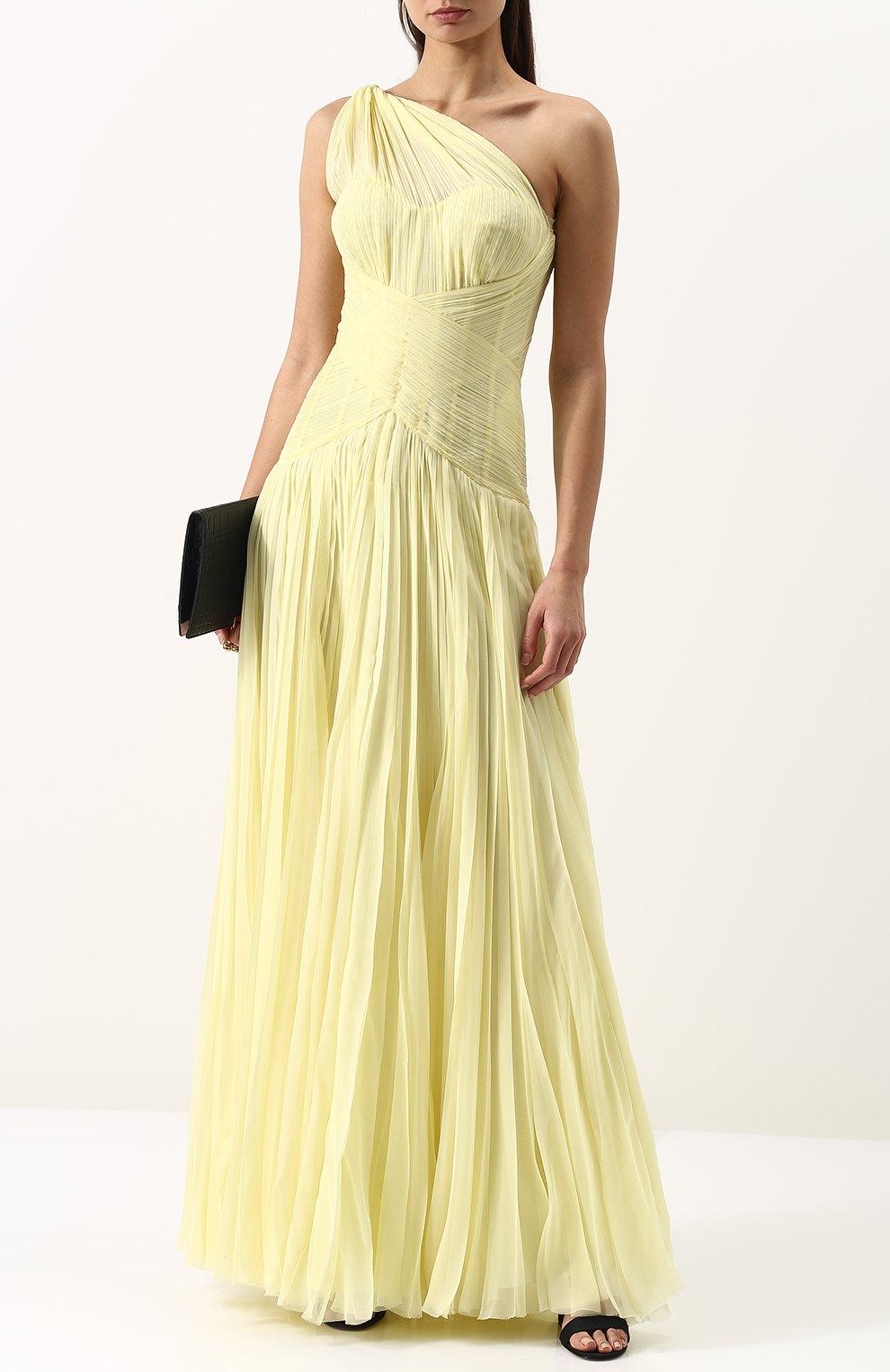 Шелковое плиссированное платье-макси | Фото №2