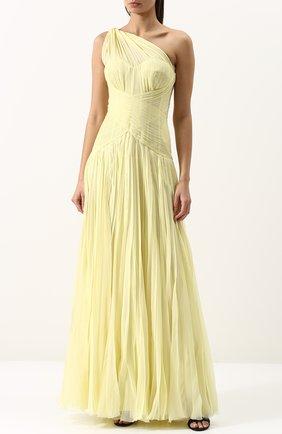 Шелковое плиссированное платье-макси | Фото №3