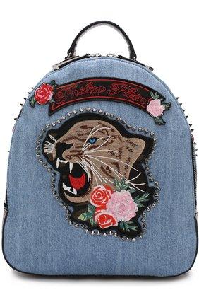 Рюкзак из денима с аппликацией | Фото №1