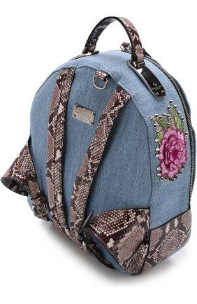 Рюкзак из денима с аппликацией | Фото №3
