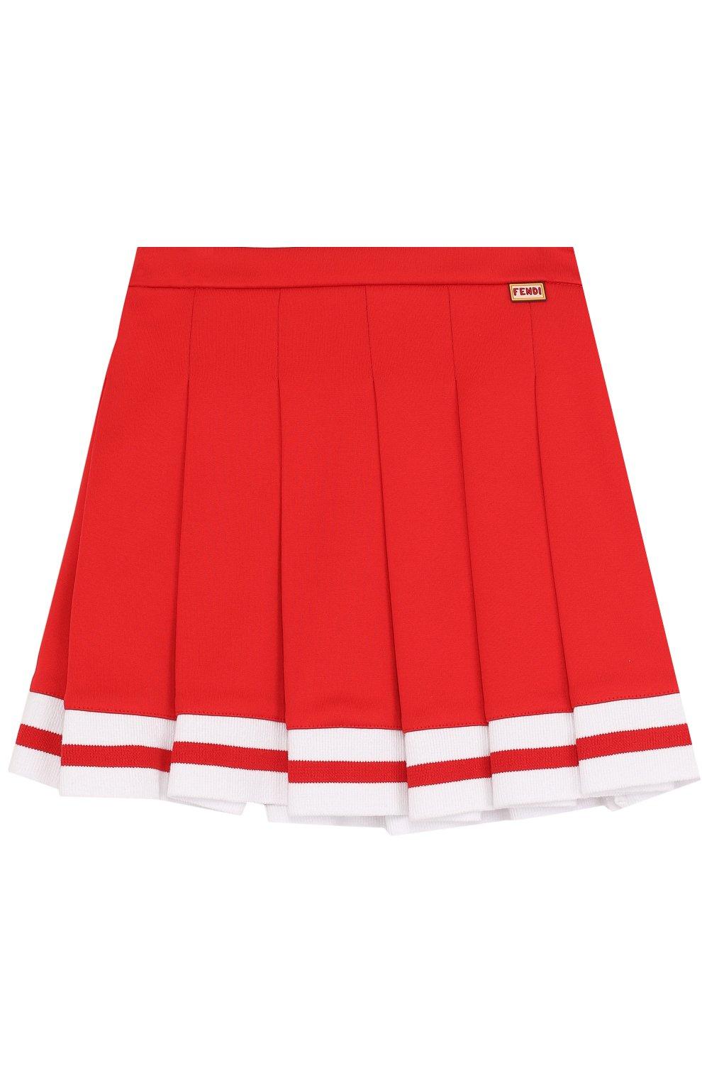 Хлопковая юбка с защипами и контрастной отделкой | Фото №1