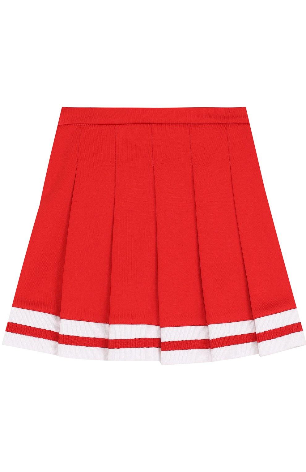 Хлопковая юбка с защипами и контрастной отделкой | Фото №2
