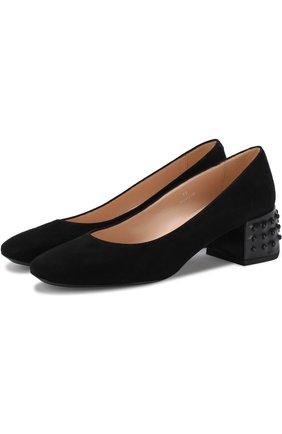 Замшевые туфли на декорированном каблуке | Фото №1