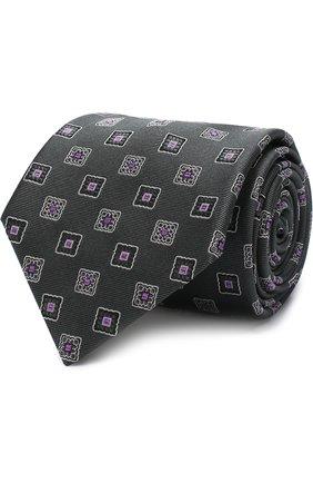 Мужской шелковый галстук с узором BRIONI оливкового цвета, арт. 062I00/P7475 | Фото 1