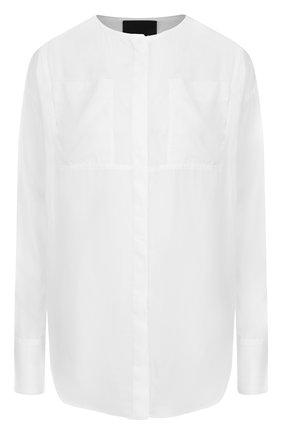 Однотонная шелковая блуза свободного кроя с круглым вырезом | Фото №1
