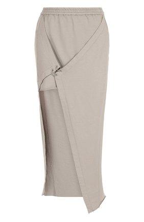 Однотонная хлопковая юбка асимметричного кроя | Фото №1