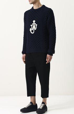 Хлопковый свитер фактурной вязки  J.W. Anderson темно-синий   Фото №1
