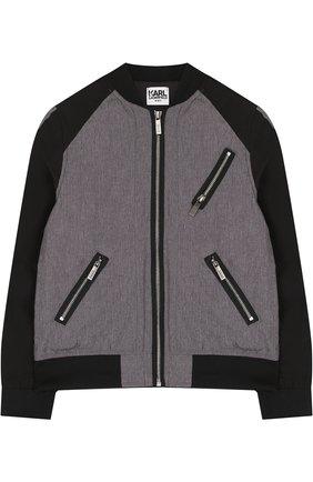 Текстильная куртка-бомбер Karl Lagerfeld Kids темно-серого цвета | Фото №1
