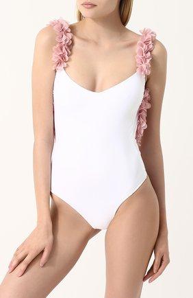 Слитный купальник с открытой спиной и цветочной отделкой | Фото №2