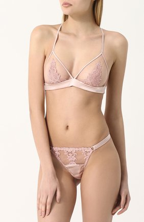 Кружевные трусы-стринги Fleur of England розовые   Фото №1
