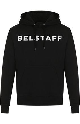 Хлопковое худи с логотипом бренда Belstaff черный | Фото №1