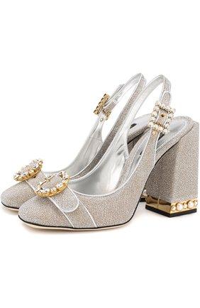 Туфли Keira из металлизированного текстиля на устойчивом каблуке | Фото №1