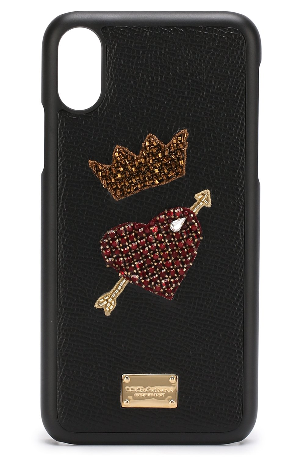 Мужской кожаный чехол для iphone x с аппликацией DOLCE & GABBANA черного цвета, арт. BI2408/AU282 | Фото 1