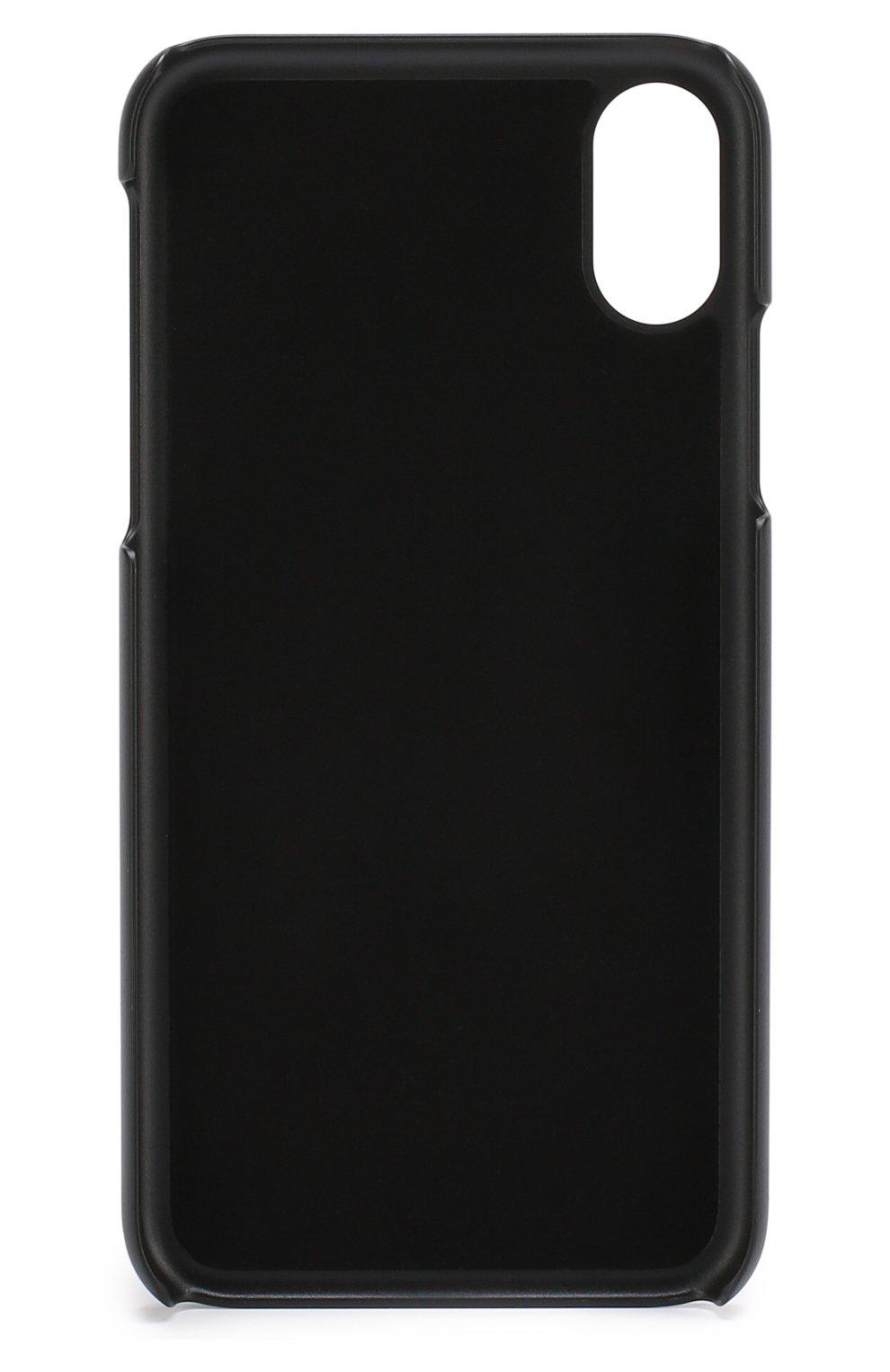 Кожаный чехол для iPhone X с аппликацией Dolce & Gabbana  | Фото №2
