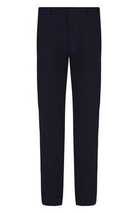 Мужские брюки из вискозы прямого кроя GIORGIO ARMANI темно-синего цвета, арт. WSP14W/0S403 | Фото 1