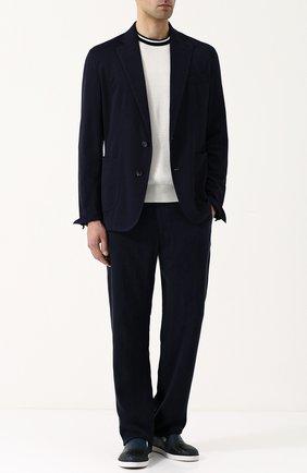 Мужские брюки из вискозы прямого кроя GIORGIO ARMANI темно-синего цвета, арт. WSP14W/0S403 | Фото 2