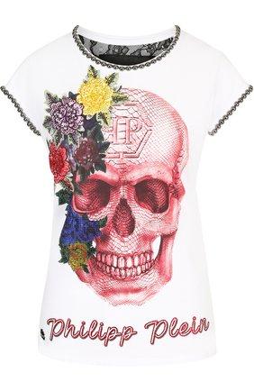 Приталенная хлопковая футболка со стразами и вышивкой | Фото №1