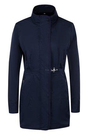 Однотонное приталенное пальто с воротником-стойкой Fay темно-синего цвета | Фото №1