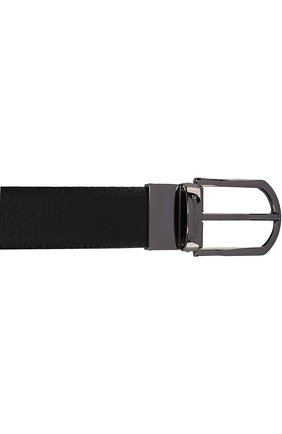 Мужской кожаный ремень с металлической пряжкой ERMENEGILDO ZEGNA черного цвета, арт. BKRDM2/989A   Фото 3