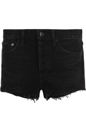 Джинсовые мини-шорты с потертостями Agolde черные | Фото №1