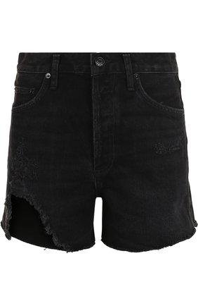 Джинсовые мини-шорты с потертостями и завышенной талией | Фото №1