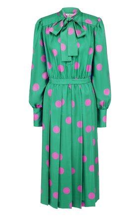 Шелковое платье-миди в горох с воротником-стойкой | Фото №1