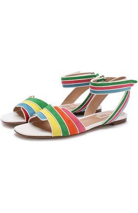 Замшевые сандалии Valentino Garavani Rainbow с кожаной отделкой | Фото №1