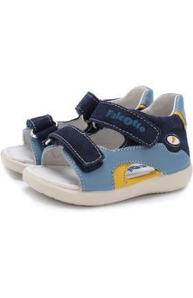 Кожаные сандалии с замшевой отделкой и застежками велькро | Фото №1