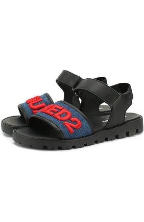 Кожаные сандалии с текстильной отделкой и застежками велькро   Фото №1