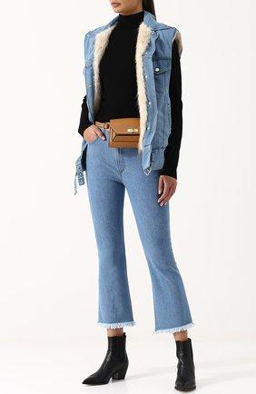 Женский джинсовый жилет свободного кроя с подкладкой из меха бобра YS ARMY PARIS синего цвета, арт. 8EFG01467D52W | Фото 2