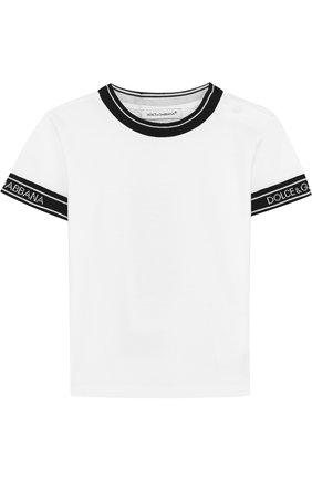 Хлопковая футболка с контрастной отделкой | Фото №1